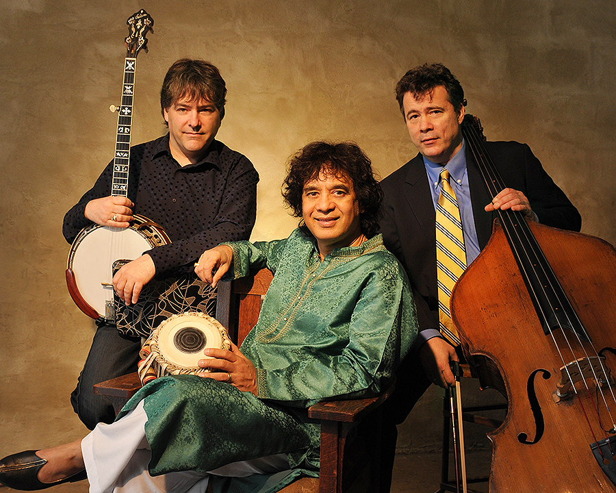 With Béla Fleck (left) and Edgar Meyer, Zakir Hussain wrote the Triple Concerto for Banjo, Bass and Tabla. | Photo: Jim McGuire
