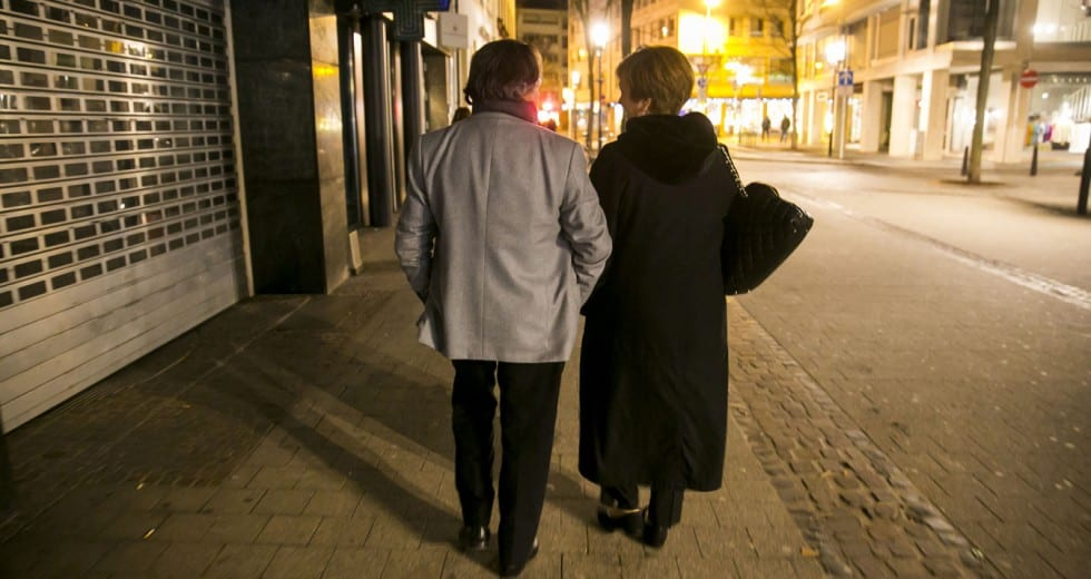On the Winter Tour 2014, Maestro Muti and CSO President Deborah Rutter head back after dinner.