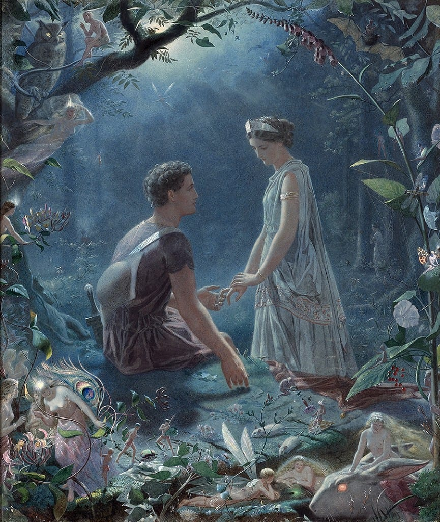 "In this 1870 illustration, British artist John Simmons depicts the lovers Hermia and Lysander, lost in an enchanted woods, in Act 2, Scene 2 of ""A Midsummer Night's Dream."""