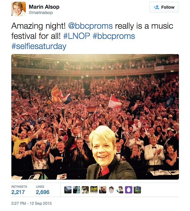 "Smile, Britannia! Marin Alsop tweets a selfie from London's ""slightly wacky"" Last Night of the Proms."