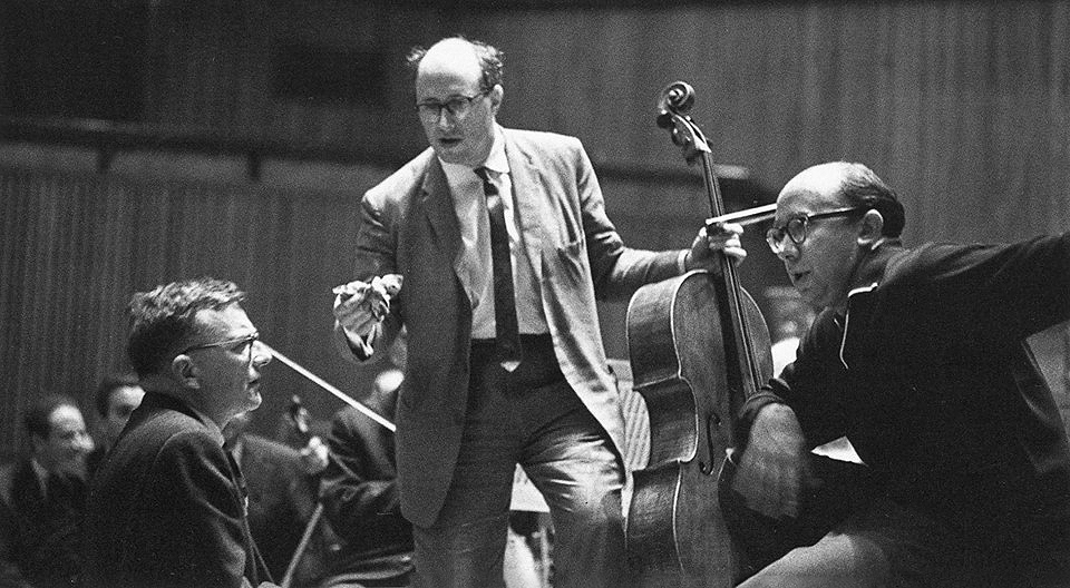 Dmitri Shostakovich (from left), cellist Mstislav Rostropovich and conductor Gennady Rozhdestvensky at a rehearsal for the composer's Cello Concerto No. 1 in 1960.